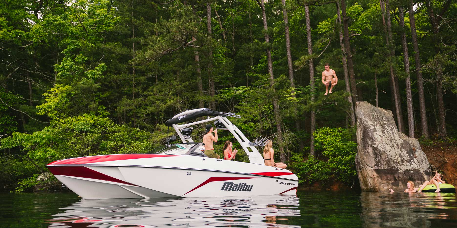 Rock jumping in the Malibu Boats 21 VLX