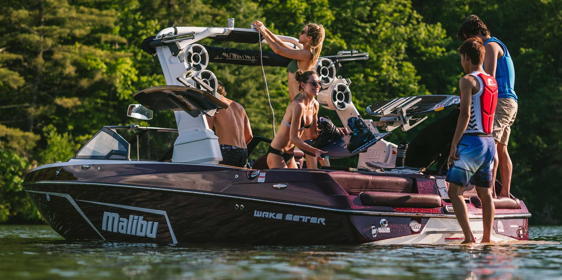 Setting up for doubles wakeboarding behind the Malibu 22 LSV.