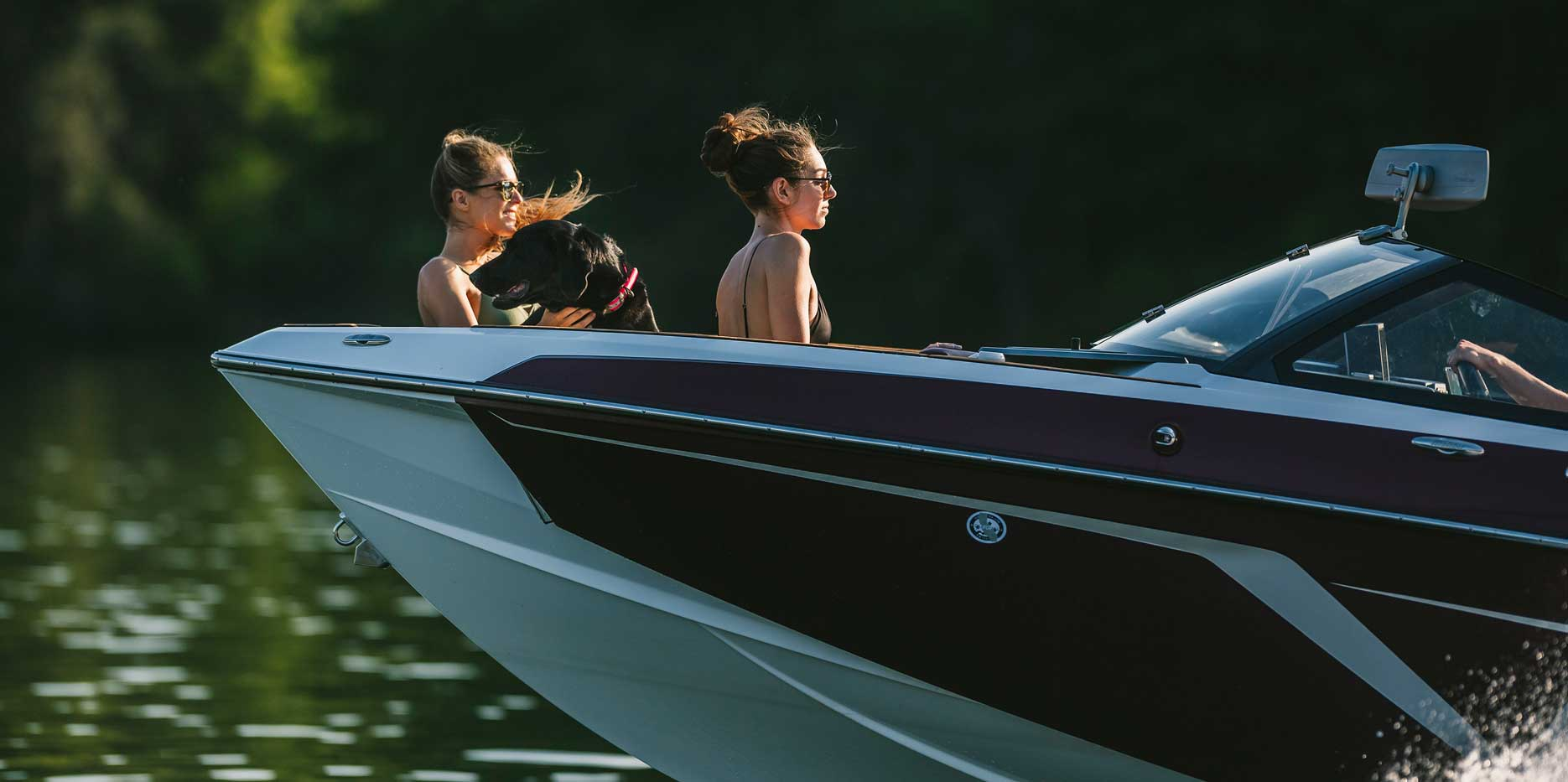 Enjoying watersports action from the bow of the 22 LSV.