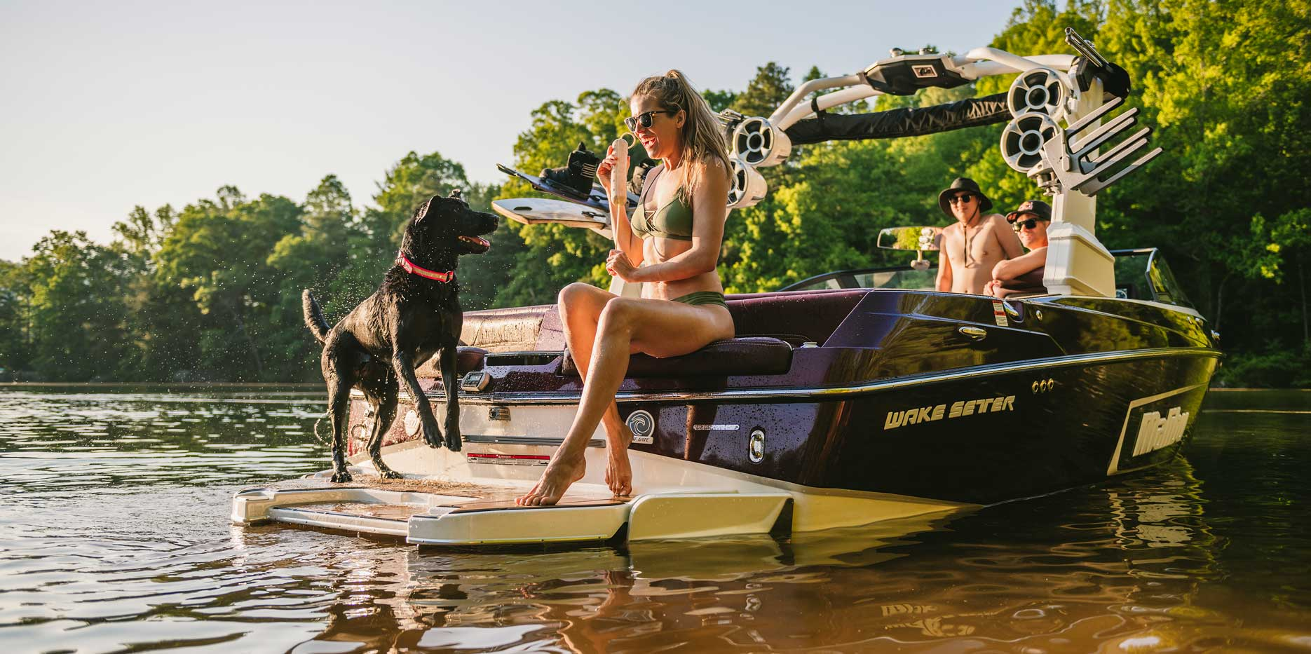 The flip-down swim step offers the ultimate ease of access into the boat or down in the water!