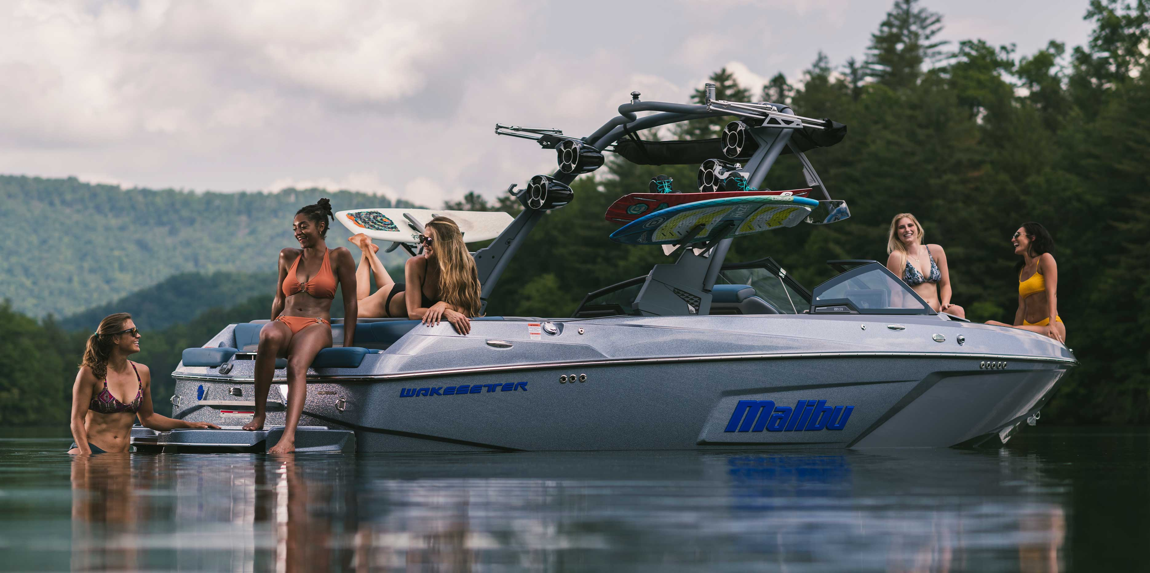 Enjoying an all-out day of fun on the water in the 22 LSV.