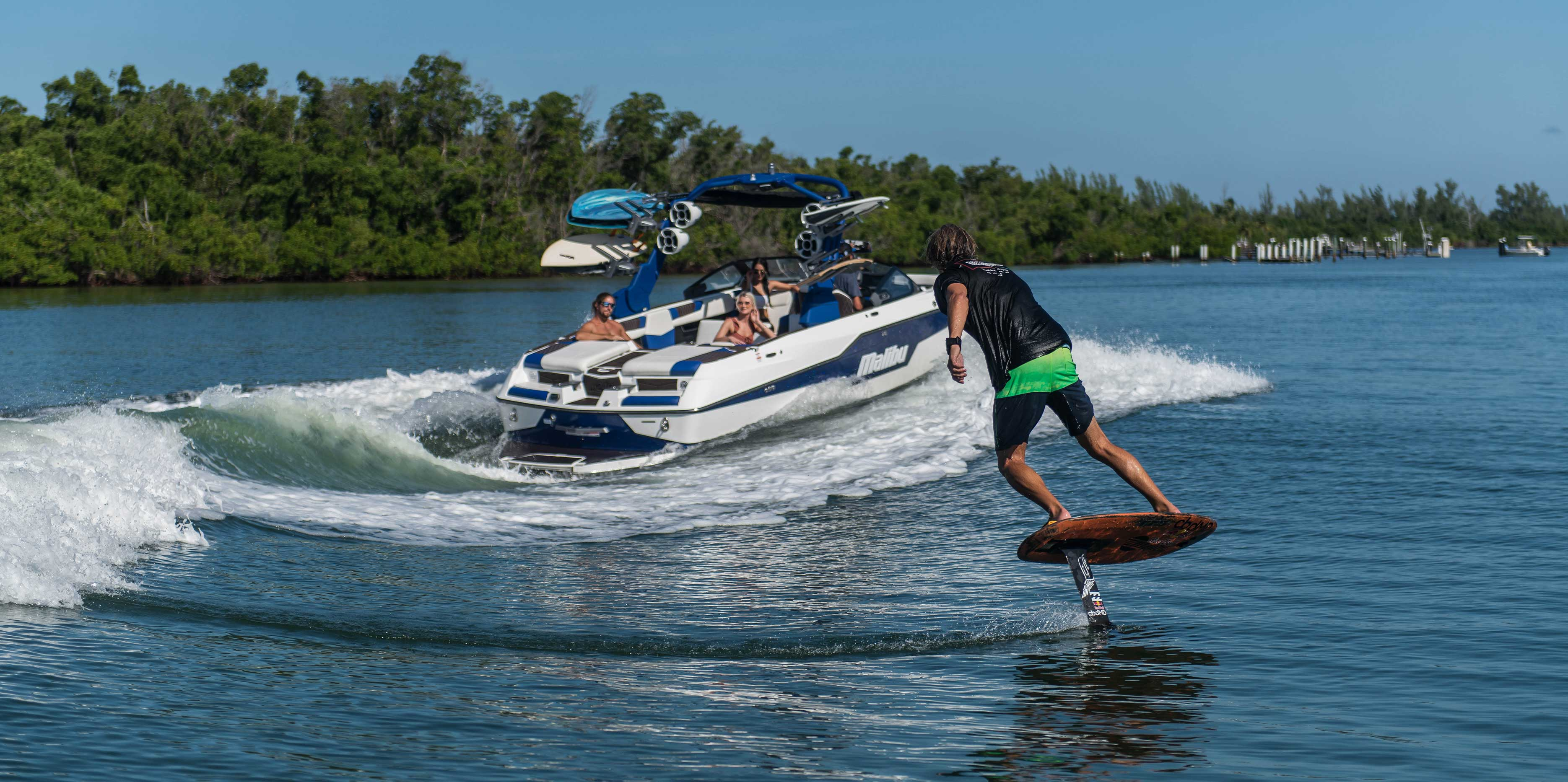 Brian Grubb Wake Foiling Behind a Malibu Boat Wakesetter